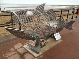 Hammy the Haddock, a large fish sculpture made of stainless-steel.
