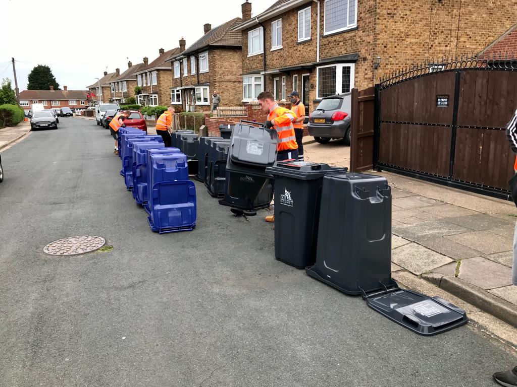Recycling bin deliveries in Grimsby.