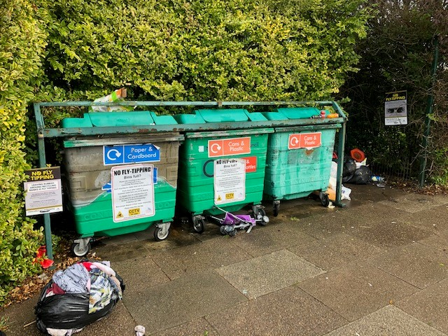 Fly-tipping at Sutcliffe Avenue recycling bank