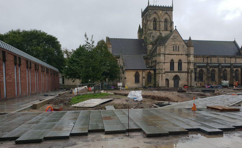 Work in progress outside Grimsby Minster