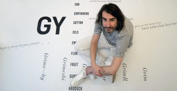 Adrian McCourt with his design for the etched paving