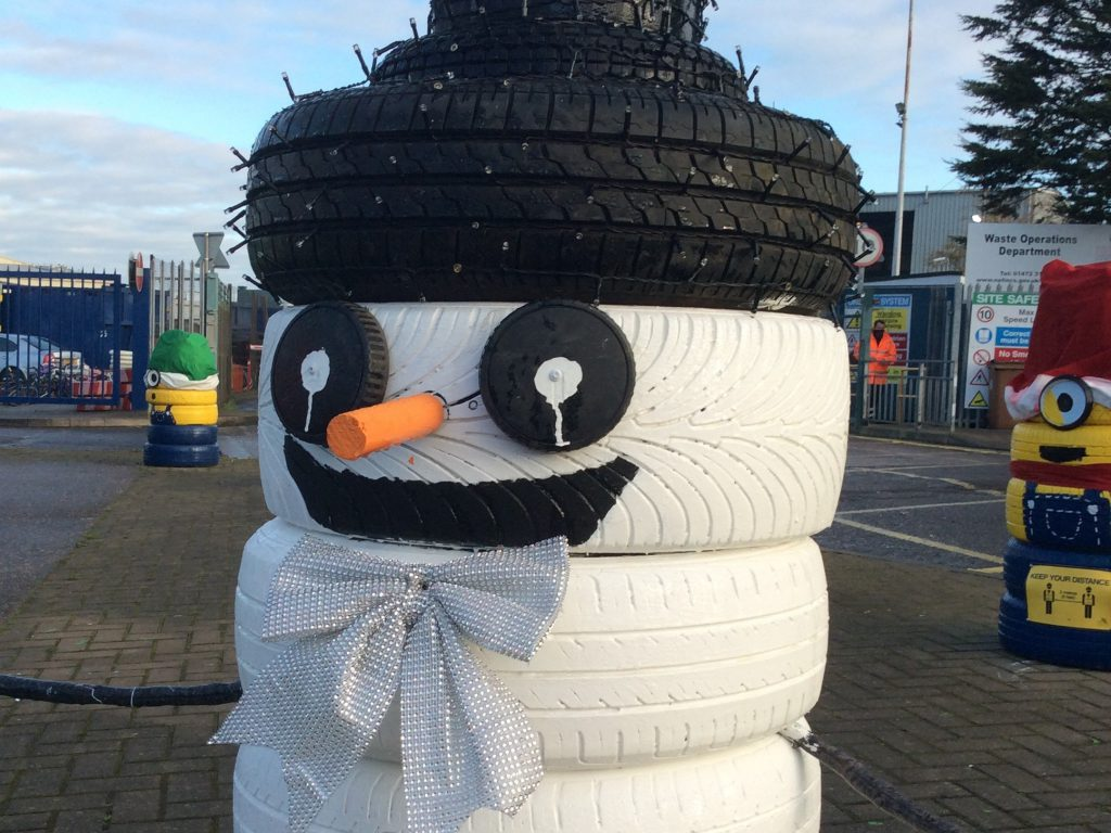 A snowman made of tyres at Grimsby Tip
