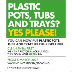 A graphic that says people can recycle plastic pots, tubs and trays in the grey bin from 8 March 2021.