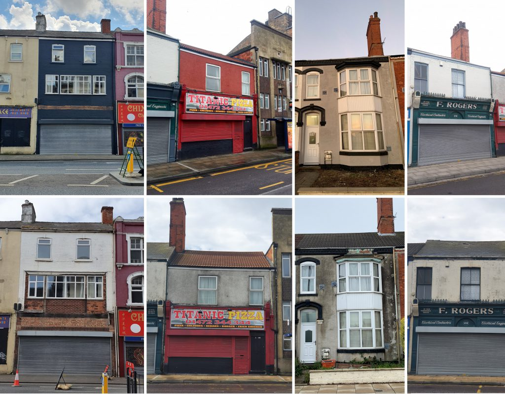Before and after shots of improved buildings in Cleethorpe Road, Grimsby