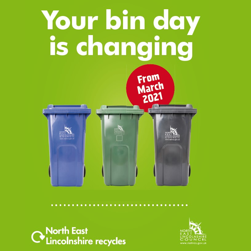 Three wheelie bins in a row with the words Your bin day is changing written above