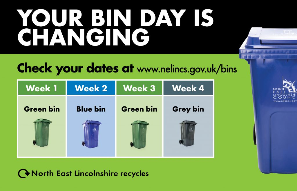 A line up of wheelie bins with text reminding people that dates are changing.