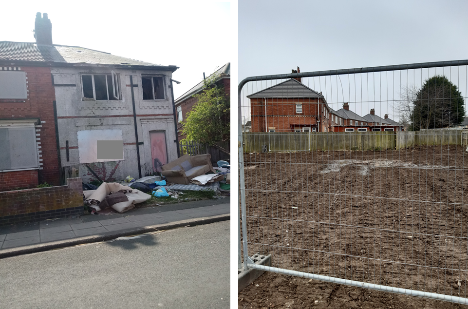 Before and after photo of the site