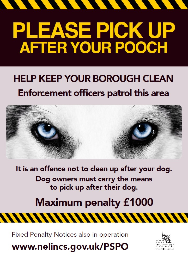 Artwork of a sign reminding people to pick up after their dogs.