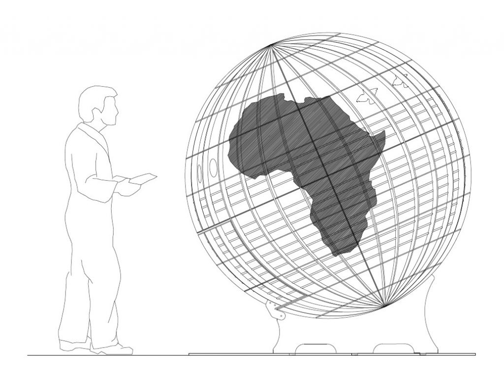 A technical drawing of the new globe recycling sculpture.
