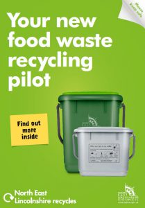 Cover of the new food waste booklet. It shows an indoor and outdoor food caddy.