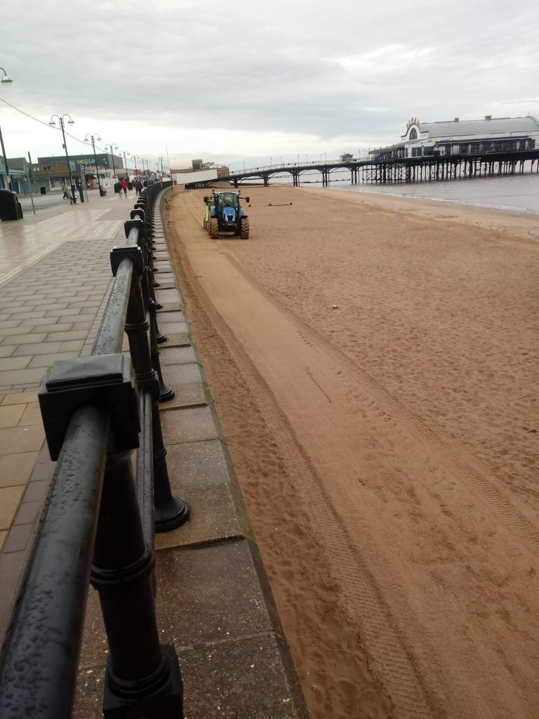 Cleethorpes beach being raked