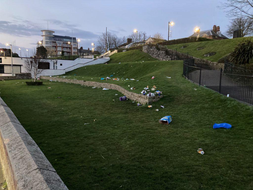 Litter left in Pier Gardens, Cleethorpes
