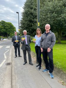 Phillip McConnell, ENGIE Deputy Partnership Director, Councillor Stewart Swinburn, portfolio holder for environment and transport, and Tape2Tape directors Nicola and Neil Pattison stand at one of the FitRoutes trails