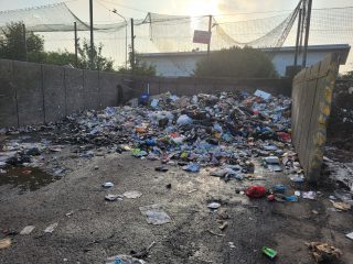 A photo of the aftermath of the fire at a waste bay in Doughty Road Depot