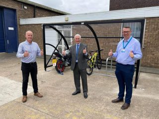 Mark Schofield from Pattesons Glass, with Councillor Stewart Swinburn and Anthony Snell from ENGIE.