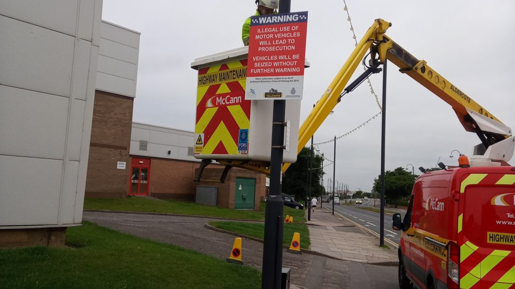ASB sign being installed