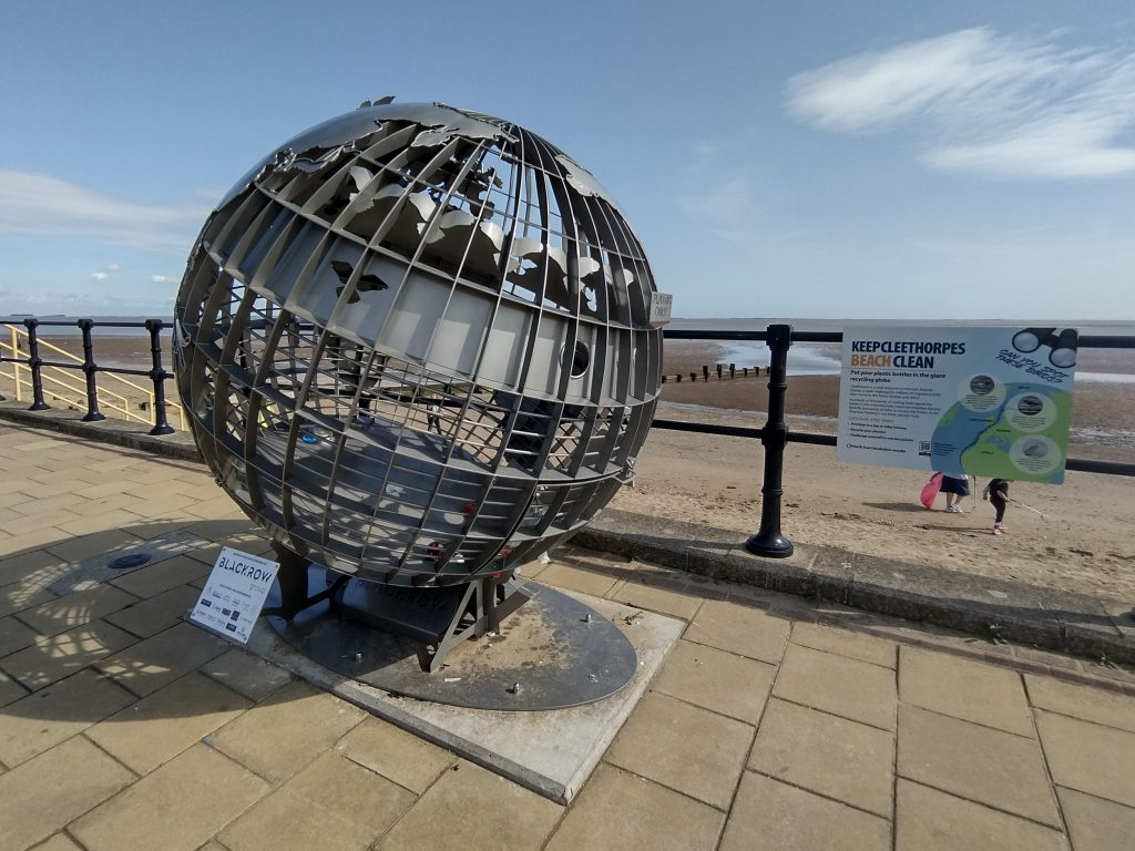 Stainless steel recycling sculpture on Cleethorpes North Prom