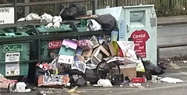 Fly-tipped waste at the Garibaldi Street car park in Grimsby.