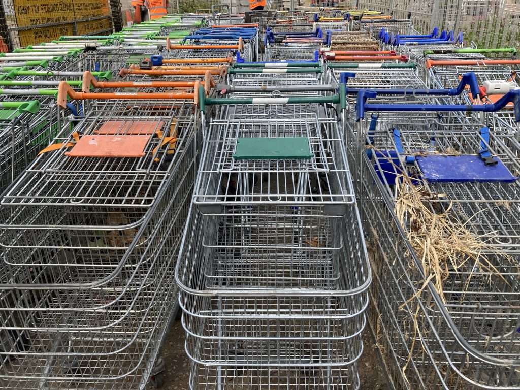 143 shopping trolleys at Doughty Road Depot in Grimsby